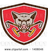 Vector Clip Art of Retro Wild Hog Boar Head Biting Crossed Polo Mallets in a Brown White and Red Shield by Patrimonio