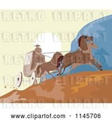 Vector Clip Art of Retro Wild West Stagecoach on a Road by Patrimonio