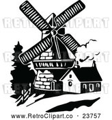 Vector Clip Art of Retro Windmill and House by Prawny Vintage