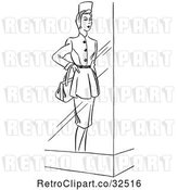 Vector Clip Art of Retro Window Mannequin Display Model in a Dress by Picsburg