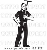 Vector Clip Art of Retro Window Washer Holding a Squeegee by Patrimonio
