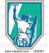 Vector Clip Art of Retro Window Washer on a Ladder and Shield by Patrimonio