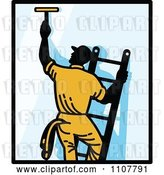 Vector Clip Art of Retro Window Washer on a Ladder Reaching up and Using a Squeegee with Black Borders by Patrimonio