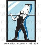 Vector Clip Art of Retro Window Washer Using a Squeegee by Patrimonio