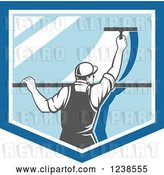 Vector Clip Art of Retro Window Washer Using a Squeegee on a Window Shield by Patrimonio