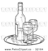 Vector Clip Art of Retro Wine Bottle and Glasses by AtStockIllustration