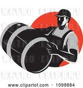 Vector Clip Art of Retro Wine Maker Vitner Carrying a Barrel over a Red Circle by Patrimonio