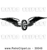 Vector Clip Art of Retro Winged Axle Wheel by Prawny Vintage