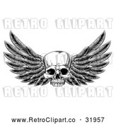 Vector Clip Art of Retro Winged Human Skull by AtStockIllustration