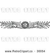 Vector Clip Art of Retro Winged Wreath and Branches by Prawny Vintage