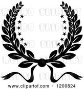 Vector Clip Art of Retro Winner Laurel Wreath with Stars by Vector Tradition SM