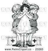 Vector Clip Art of Retro Wise Children Covering Their Ears Mouth and Eyes by Prawny Vintage