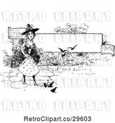 Vector Clip Art of Retro Witch and Birds by a Banner by Prawny Vintage