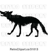 Vector Clip Art of Retro Wolf Silhouette by Prawny Vintage