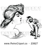 Vector Clip Art of Retro Woman and Cupid by Prawny Vintage