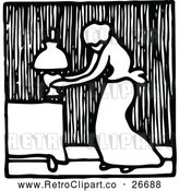 Vector Clip Art of Retro Woman and Lamp Icon by Prawny Vintage