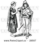 Vector Clip Art of Retro Woman and Man Feeding a Baby by Prawny Vintage
