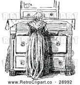 Vector Clip Art of Retro Woman at a Dresser by Prawny Vintage