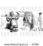 Vector Clip Art of Retro Woman Butchering Chickens 1 by Prawny Vintage