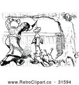 Vector Clip Art of Retro Woman Butchering Chickens 2 by Prawny Vintage
