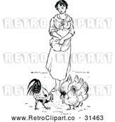 Vector Clip Art of Retro Woman Feeding Chickens by Prawny Vintage