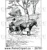 Vector Clip Art of Retro Woman Girl and Horse Drawn Cart by Prawny Vintage