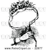 Vector Clip Art of Retro Woman Holding a Bouquet of Flowers with Copyspace by Prawny Vintage