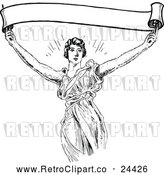 Vector Clip Art of Retro Woman Holding up a Banner by Prawny Vintage