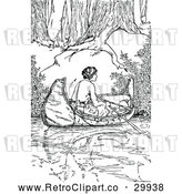 Vector Clip Art of Retro Woman in a Canoe by Prawny Vintage