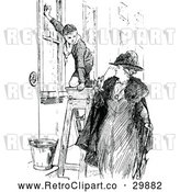 Vector Clip Art of Retro Woman Looking at a Boy Scout Washing Windows by Prawny Vintage