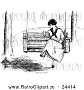 Vector Clip Art of Retro Woman on a Swing by Prawny Vintage