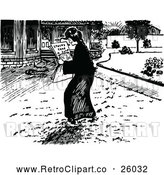 Vector Clip Art of Retro Woman Reading in a Street by Prawny Vintage