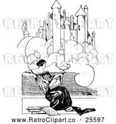 Vector Clip Art of Retro Woman Reading Under a Castle by Prawny Vintage