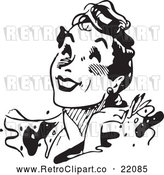 Vector Clip Art of Retro Woman Smiling Upwards by BestVector