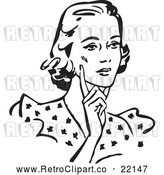 Vector Clip Art of Retro Woman Touching Her Cheek and Looking Concerned by BestVector