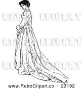 Vector Clip Art of Retro Woman with a Long Dress by Prawny Vintage