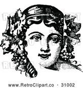 Vector Clip Art of Retro Woman with Grapes and Leaves in Her Hair by Prawny Vintage