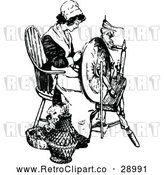 Vector Clip Art of Retro Woman Working a Spindle by Prawny Vintage