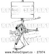 Vector Clip Art of Retro Women Golfing Under a Sign by Prawny Vintage