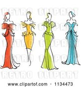 Vector Clip Art of Retro Women in Gorgeous Gowns and Dresses by Vector Tradition SM