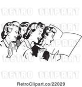 Vector Clip Art of Retro Women Reading a Blank Paper by BestVector