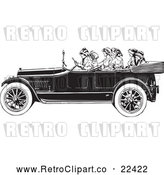 Vector Clip Art of Retro Women Riding in a Convertible Car by BestVector