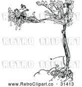 Vector Clip Art of Retro Women Singing in a Tree by Prawny Vintage