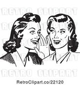 Vector Clip Art of Retro Women Whispering Gossip by BestVector