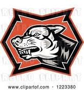 Vector Clip Art of Retro Woocut Snarling Wolf by Patrimonio