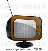 Vector Clip Art of Retro Wood Veneer Television Set by Elaineitalia