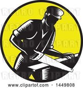 Vector Clip Art of Retro Woodcut 19th Century Carpenter Sawing Wood in a Yellow Circle by Patrimonio