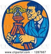 Vector Clip Art of Retro Woodcut Ale Surveyor Using a Theodolite Instrument in a Blue and Orange Oval by Patrimonio