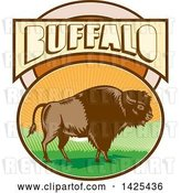 Vector Clip Art of Retro Woodcut American Bison in an Oval with Hills and Sun Rays Under Buffalo Text by Patrimonio