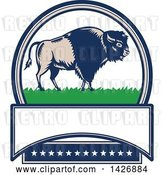 Vector Clip Art of Retro Woodcut American Buffalo Bison on Grass in an Oval with Text Space and Stars by Patrimonio